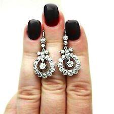 2 Ct Round VVS1 Diamond Vintage Drop Dangle Wedding Earrings 14K White Gold Over