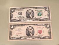 1963 $2.00 Red Seal 1976 $2.00 Bicentennial Bill CU Richmond /& 1953