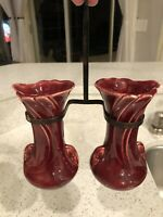 Vintage Shawnee Hanging Double Vase With Metal Hanger Pottery Planter