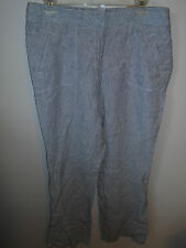 Chico's Ultimate Fit Linen Stripe Pants 1.5  NWT White/Blue