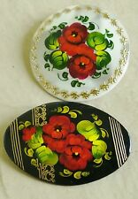 2 Russian traditional lacquered brooches pins w/ floral flowers hand-painted B4
