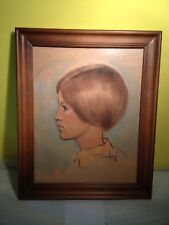 Mid Century Vintage Street Drawing of Woman from Disneyland 1968