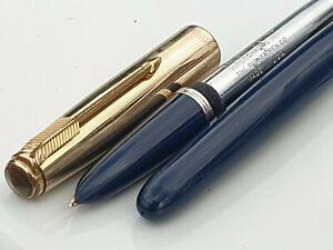 PARKER 51 AEROMETRIC 1948 MIDNIGHT BLUE 1/10 12k GOLD FILL CAP 14K MEDIUM NIB