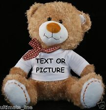 Personalised Teddy Bear 30cm Lovely Birthday Gift Photo/Text Print Soft Xmas