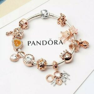 Authentic PANDORA Bracelet Silver with Rose Gold Happy European Charms New