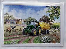Nostalgique john deere série 6030 remorque tracteur design ouverte vide carte d'anniversaire