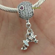 925 Sterling Silver Disne Floating Minnie Dangle Charm Clear CZ Blue Enamel 2018