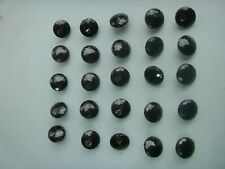 Old Antique 1920s 25 x Antique French Jet Glass Buttons 6mm Faceted Original