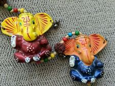Feng Shui 5 Hanging Elephants, Charm, Amulet, With Bell, Karma, Good Fortune