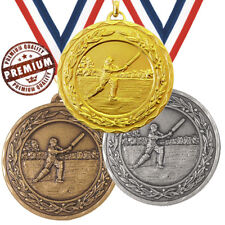 CRICKET MEDAL 50mm EMBOSSED TOP QUALITY, WITH FREE RIBBON, 3 COLOURS