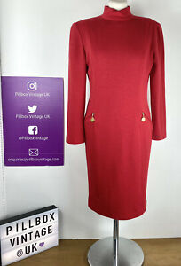 1980s Size 10 Vintage Red Pure Wool Jaeger High Neck Bodycon Gold Zip Dress