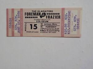 JOE FRAZIER vs GEORGE FOREMAN Boxing Ticket 1976 Jackson Mississippi Fight