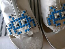 Anya Hindmarch 'SPACE INVADER' SANDAL in SILVER METALLIC NAPPA - SIZE 39 - BNWT