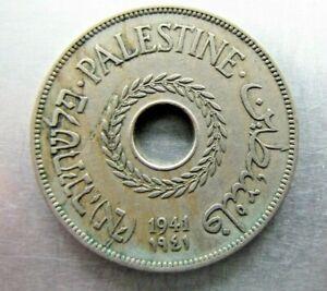 Palestine KM5 20 Mils 1941 lightly toned VF.  Rare year !