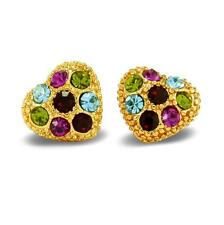 Crystal Heart Shape Stud Earrings 18ct Gold Filled Multi-Colour BE842
