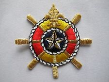 #3723 Red/Yellow Life Ring,Golden Wheel w/Fleur-De-Lis Embroidery Applique Patch
