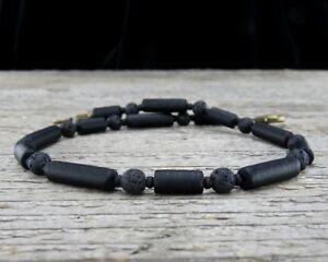Mens Anklet - Black Anklet in Matte Glass and Lava Stone - Unisex Ankle Bracelet