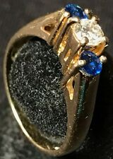 14K Solid Yellow Gold Diamond Sapphire Engagement Ring
