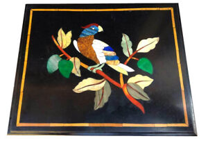 "14""x14"" Black Marble Coffee Table Top Inlaid Wall panel Bird Hallway Decors B805"