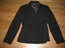 LADIES BLACK PINSTRIPE LONG SLEEVE POLYESTER BUTTON FRONT JACKET BY CUE - SIZE 6