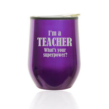 Stemless Wine Tumbler Coffee Travel Mug Glass Cup w/ Lid Teacher Superpower