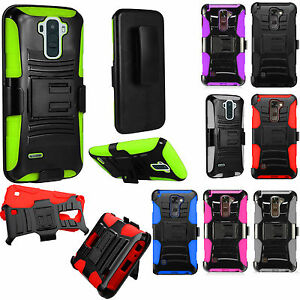 LG Stylo 2 Hard COMBO Belt Clip Holster Case Phone Cover Kickstand +Screen Guard