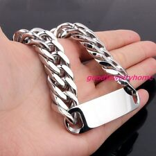 Fashion Stainless Steel Silver Color Curb Cuban Chain ID Bracelet Men's Jewelry