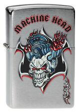 Zippo Briquet Machine Head Brushed Chrome tete de mort neuf neuf dans sa boîte Pièce de collection!!!
