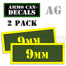 9MM Ammo Can Box Decal Sticker bullet ARMY Gun safety Hunting 2 pack AG