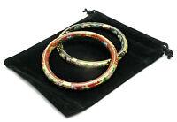 Set of 2 Vintage 1970s Colorful Stacking Chinese Cloisonné Flower Bracelets