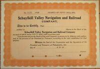 'Schuylkill Valley Navigation & Railroad Company' 1920 Stock Certificate