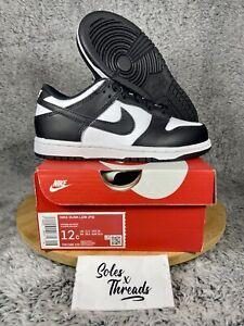 Nike Dunk Low Retro PS 'Black White' Kids' Sneakers Size 12C CW1588-100