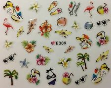 Nail Art 3D Decal Stickers Summer Paradise Flip Flops Flamingo Shell Toucan E309