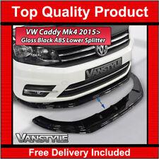 VW CADDY MK4 15+ LOWER FRONT ABS GLOSS BLACK SPLITTER SPOILER BUMPER LIP ADD ON
