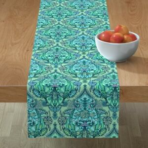 Table Runner Floral Plant Botanical Moroccan Green Art Cotton Sateen