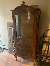 Tall Antique French Carved Oak Vitrine Glass Display Cabinet Reproduction