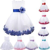 Girls Rose Dress Flower Princess Sleeveless Formal Party Wedding Bridesmaid