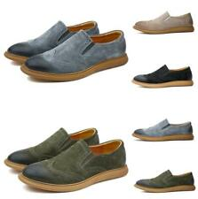 Brogue Mens Suede Leather Carved Casual Dress Business Slip On Wing Tip Shoes Sz