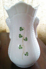 DONEGAL BELLEEK PARIAN CHINA VASE WITH SHAMROCKS USED FOR DISPLAY ONLY
