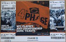 2008-09 Chicago Bears NFC Playoff & Championship Phantom Ticket Sheet NM