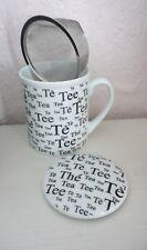"""Schöne 3-tlg. TEE-TASSE """"TEE"""", weiß/schwarz mit Sieb u. Deckel, 10 cm, NEU!"""