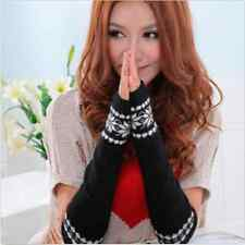 Black Winter Warmer Arm Hand Mitten Long Cutton Fingerless Snowflake Gloves Lady