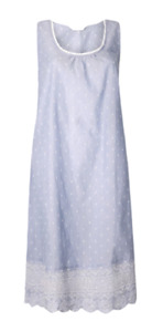 EX M&S BLUE PURE COTTON EMBROIDERED DOBBY NIGHTDRESS NEW