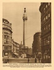 Wren's Monument commemorating the Great Fire 1926 old vintage print picture