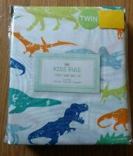 Kids Rule Twin Sheet Set Dinosaurs Dino 3 Piece Set Boys Blue Microfiber NEW NIP