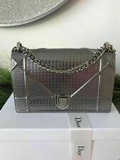 CHRISTIAN DIOR Metallic Silver Calfskin Micro-Cannage Medium Diorama Flap Bag