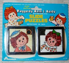 1977 New Arco Moc Raggedy Ann & Andy 2 Slide Puzzles #908 Made In Hong Kong