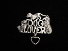 Heart Charm Pin ~ Collie & Pekingese Jj Jonette Jewelry Silver Pewter Dog Lover