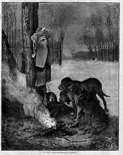 DOGS HOUNDS ON DUTY CANINE SITTING AROUND THE CAMPFIRE WOODS DEER-HOUNDS FIRE