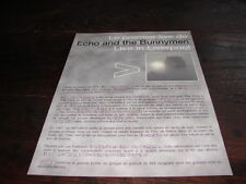 ECHO AND THE BUNNYMEN LIVE!!!!!!!!RARE FRENCH PRESS/KIT